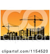 Clipart Of A Construction Site With Frame Work And Cranes Silhouetted At Sunset Royalty Free Vector Illustration