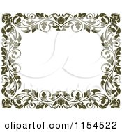 Clipart Of A Frame Of Ornate Vines On White Royalty Free Vector Illustration