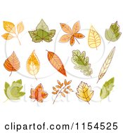 Clipart Of Autumn Leaves Royalty Free Vector Illustration