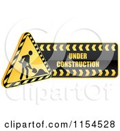 Clipart Of A Shiny Yellow Under Construction Icon Royalty Free Vector Illustration