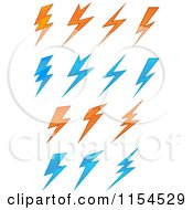 Clipart Of Orange And Blue Bullets Royalty Free Vector Illustration