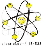 Cartoon Of An Atom With Happy Smiley Faces Royalty Free Vector Illustration by Johnny Sajem