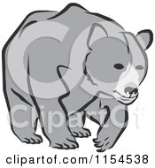 Cartoon Of A Gray Bear Walking Royalty Free Vector Illustration by Johnny Sajem