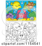 Cartoon Of Outlined And Colored Fish Sea Turtle And Crab Royalty Free Vector Clipart