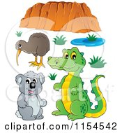 Cartoon Of A Kiwi Bird Crocodile Koala And Uluru Royalty Free Vector Clipart by visekart