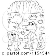 Cartoon Of An Outlined Kiwi Bird Crocodile Koala And Uluru Royalty Free Vector Clipart by visekart