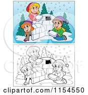 Cartoon Of Outlined And Colored Kids Building An Igloo Royalty Free Vector Clipart