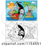 Cartoon Of Outlined And Colored Pirate Parrots And Islands Royalty Free Vector Clipart