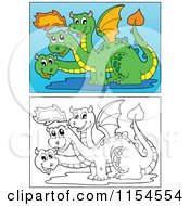 Cartoon Of Outlined And Colored Three Headed Dragons Royalty Free Vector Clipart