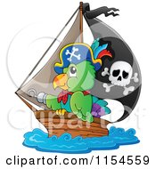 Cartoon Of A Pirate Parrot In A Ship Royalty Free Vector Clipart by visekart