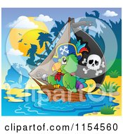 Cartoon Of A Pirate Parrot And A Ship By An Island Royalty Free Vector Clipart