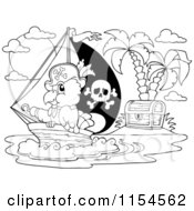 Cartoon Of An Outlined Pirate Parrot By A Treasure Island Royalty Free Vector Clipart