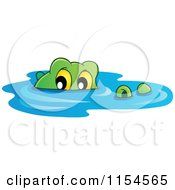 Cartoon Of A Swimming Crocodile Royalty Free Vector Illustration