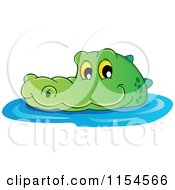 Cartoon Of A Swimming Crocodile 2 Royalty Free Vector Illustration by visekart