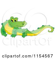 Cartoon Of A Happy Crocodile Royalty Free Vector Illustration by visekart