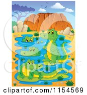 Cartoon Of A Pond Of Australian Crocodiles Royalty Free Vector Clipart by visekart
