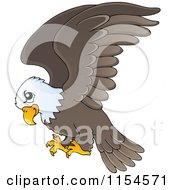 Cartoon Of A Flying Bald Eagle Royalty Free Vector Clipart
