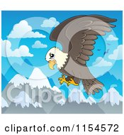 Cartoon Of A Bald Eagle Flying Over Mountains Royalty Free Vector Clipart