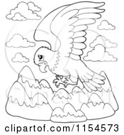 Cartoon Of An Outlined Eagle Flying Over Mountains Royalty Free Vector Clipart
