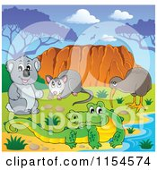 Cartoon Of An Aussie Crocodile Possum Koala And Kiwi Bird By Uluru Royalty Free Vector Clipart