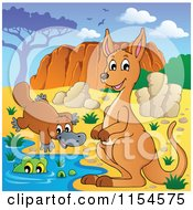 Cartoon Of An Aussie Kangaroo Platypus And Crocodile By Uluru Royalty Free Vector Clipart by visekart