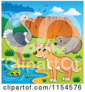 Cartoon Of An Aussie Crocodile Dingo Wombat And Ostrich By Uluru Royalty Free Vector Clipart