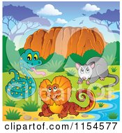 Cartoon Of An Aussie Snake Frilled Lizard And Possum By Uluru Royalty Free Vector Clipart