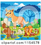 Cartoon Of An Aussie Frilled Lizard Platypus And Dingo At A Watering Hole Royalty Free Vector Clipart by visekart