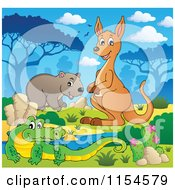 Cartoon Of An Aussie Crocodile Wombat And Kangaroo By A Watering Hole Royalty Free Vector Clipart by visekart