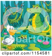 Cartoon Of A Pelican And Crocodiles At A Swamp Royalty Free Vector Clipart by visekart