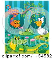 Cartoon Of A Pelican Snake And Crocodiles At A Swamp Royalty Free Vector Clipart by visekart