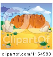 Cartoon Of An Australian Landscape With Desert And Ayers Rock Royalty Free Vector Clipart