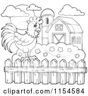 Cartoon Of An Outlined Rooster On A Farm Fence Royalty Free Vector Clipart by visekart