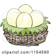 Cartoon Of Eggs In A Bird Nest Royalty Free Vector Clipart by visekart