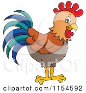 Cartoon Of A Rooster Royalty Free Vector Clipart by visekart