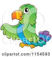 Cartoon Of A Pointing Parrot Royalty Free Vector Clipart by visekart