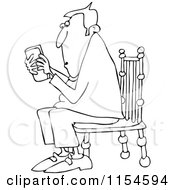 Cartoon Of An Outlined Man Sitting In A Chair And Texting On A Phone Royalty Free Vector Clipart by djart