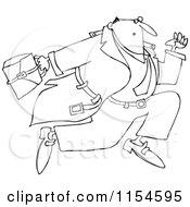 Cartoon Of An Outlined Businessman Sprinting Royalty Free Vector Clipart