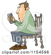 Cartoon Of A Outlined Man Sitting In A Chair And Texting On A Phone Royalty Free Vector Clipart