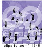 Businessmen Working Together As A Team To Stack Purple Building Blocks Of Success Clipart Illustration