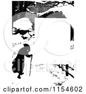 Retro Vintage Silhouetted Winter Man And Cane Page Border