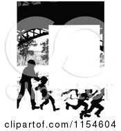 Retro Vintage Silhouetted Running Children Page Border