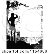 Retro Vintage Silhouetted Woman Viewing Page Border