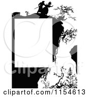 Retro Vintage Silhouetted Person Hanging Off Of A Cliff Page Border