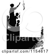 Retro Vintage Silhouetted People On A Cliff Page Border