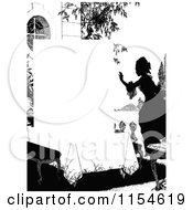 Retro Vintage Silhouetted Woman And Table Page Border