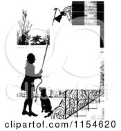 Clipart Of A Retro Vintage Silhouetted Dog And Man Ringing A Bell Page Border Royalty Free Vector Clipart by Prawny Vintage