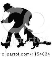 Clipart Of A Retro Vintage Silhouetted Dog Biting A Man Royalty Free Vector Clipart
