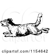 Clipart Of A Retro Vintage Black And White Dog Running Royalty Free Vector Clipart