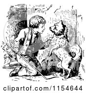 Clipart Of A Retro Vintage Black And White Boy And Dog Royalty Free Vector Clipart